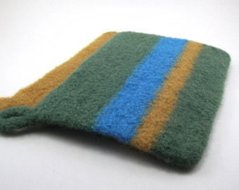 Felted wool potholders - wool trivets - potholder set - grass, mustard and cerulean