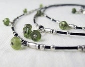 Three Layer Leather and Silver Necklace with Green Vesuvianite Gemstones