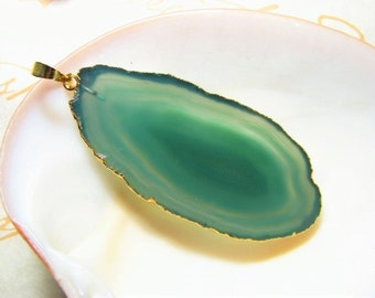 Emerald Isles, Agate Slice Pendant, medium size