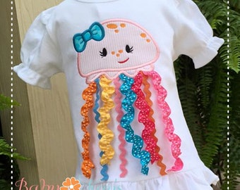 Jellyfish Girl with 3D Ribbon Option Applique Design 4x4, 5x7, 6x10, 8x8