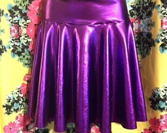 Vivid Magenta Pink Metallic Lamé Skater Mini Skirt - Handmade Couture, Custom Sizing, Stretch Spandex - READY TO SHIP