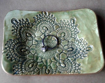 Moss GreenCeramic Lace  Soap Dish edged in Gold