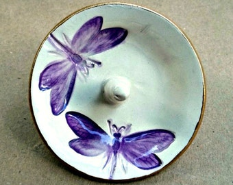 Ceramic Dragonfly Ring Holder Bowl Purple on Off White gold edged