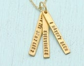 Adventure quote pendant - SUSAN SONTAG QUOTE about travel - handmade 14 kt gold vermeil necklace by artisan Chocolate and Steel