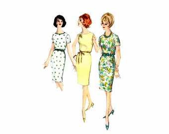 1960s Scoop Neck Proportioned Dress Simplicity 5355 Vintage Sewing Pattern Size 16 Bust 36 UNCUT