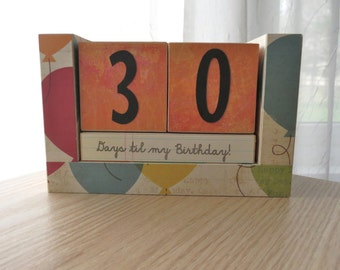 Birthday Countdown Wooden Block Calendar - Bday Balloons