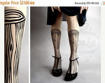 15%SALE/endsAUG30/ Wooden Legs TATTOO gorgeous thigh-high stockings Ultra Pale