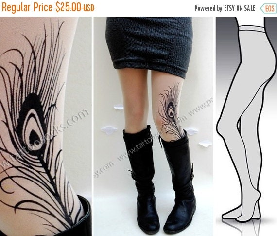 10%Off// Small/Medium gorgeous MINI and BOOTS peacock FEATHER tattoo tights / stockings/ full length / pantyhose / nylons Ultra Pale