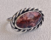 Sterling Crazy Lace Ring, Sterling Crazy Lace Agate Ring, Sterling Agate Ring, East West Sterling Ring, Sterling Silver Ring