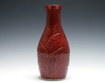 Rhubarb Red Vase with Branch and Dot Design