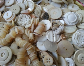 100 Shabby Old White Buttons. Shell, Old Plastic, Celluloid.