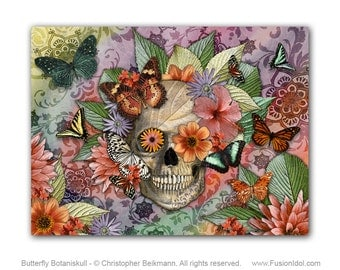 Butterfly Sugar Skull 24x18 Art Canvas - Botanical Sugar Skull Art - Day of the Dead Art Floral Skull Canvas