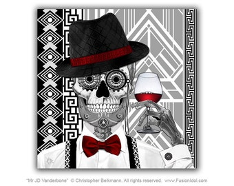 1920's Sugar Skull 30x30 Art Canvas - Mr JD Vanderbone - Art Deco Day of the Dead Canvas