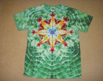 M tie dye t-shirt, green mandala design, medium