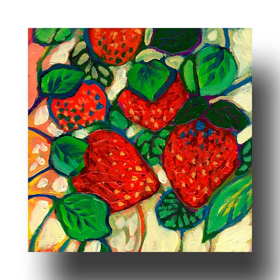 The NeverEnding Story No 25 (strawberries) - ORIGINAL Painting on 6x6 Wood Block by JENLO