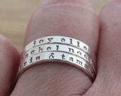 Stackable Ring Custom Name Ring Sterling Silver Personalized Hand Stamped Mothers Ring Posey Comfort Fit