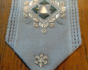 Mill Hill Finished Christmas Cross Stitch - Blue Snowflake Banner - All profits go to charity