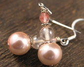 SALE Soft peach glass pearls, cherry quartz stone and silver handmade earrings