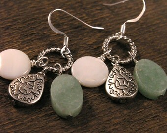 Green amazonite, white shell beads, teardrop charms handmade silver ring earrings