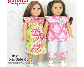 "SALE - Little Playdate Outfit sewing pattern for 18"" dolls from Carina Gardner"