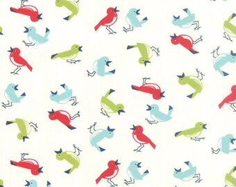 Vintage Picnic - Early Bird in Cream: sku 55122-17 cotton quilting fabric by Bonnie and Camille for Moda Fabrics - 1 yard