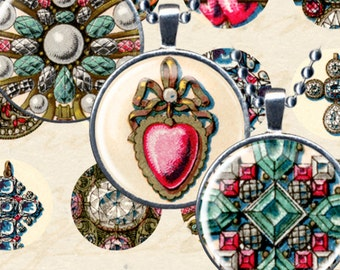 High Quality Collage Sheet, Antique French Jewelry 1-inch Circles, French Ephemera Printables, Digital Vintage, Commercial Use - piddix 940