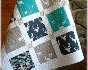 Baby Boy Quilt Woodland Deer Buck  Navy Teal Gray Grey Nursery Bedding Forest Animals Rustic Country Crib Bedding Brambleberry Ridge Antlers