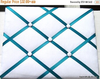 SWEETHEART SALE White and Turquoise Ribbon Memory Board French Memo Board, Fabric Ribbon Bulletin Board, Fabric Pin Board, Fabric Photo Boar