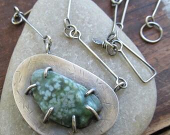 Sterling Silver Necklace Ocean Jasper Pendant OOAK Rough Stone Statement Necklace