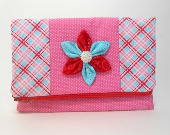 Red and Pink Foldover Clutch with Pockets and Kanzashi Flower, Medium Pink Plaid Clutch