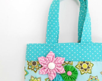 Book Bag with Kanzashi and Yo Yo Flowers, Magazine Tote Bag