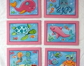 "Set of six Pink Under the Sea Ocean Animal 5""x7"" Original Canvas Paintings. Whale, Fish, Sea Turtle. Baby Girl"
