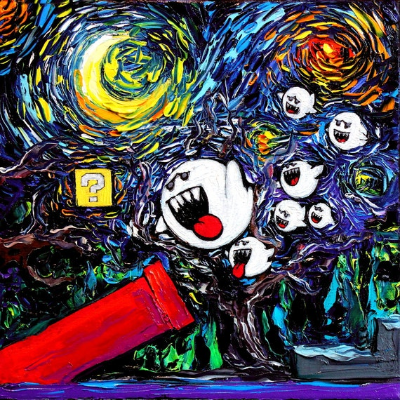 Video game art super mario u starry night ghosts gamer for Painting games com