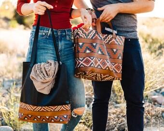 Totem Tote Version II- VOZ x YWH/ Hand Painted Leather Handbag/ Black Leather/ Decorative Bottom/ Every Day Bag/ Inside Pocket/ Southwestern