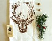 Deer & Birds Kitchen Dish Towel-Hand Printed- Soft Cotton Tea Towel- Flour Sack- Chocolate Brown