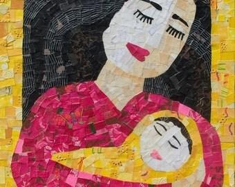 50% OFF SALE - Newborn Baby ART, New Baby gift, Mom Art