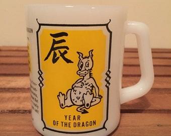 Vintage year of the dragon milk glass mug
