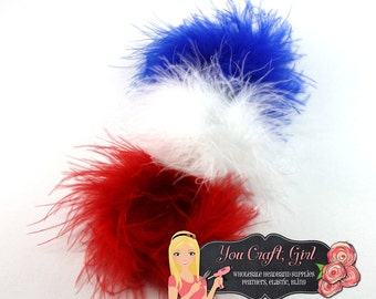 RED WHITE BLUE Marabou Puffs 3 Inch - Marabou Feather - Feather Puff - Marabou Boa - Feather - Puff - Hair bow Patriotic 4th of July Feather