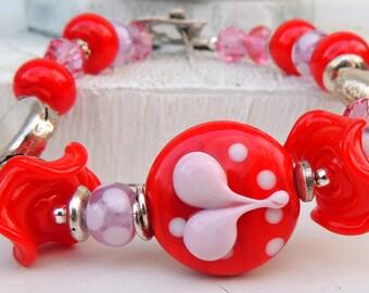 ROSE LOVE Handmade Lampwork Bead Bracelet