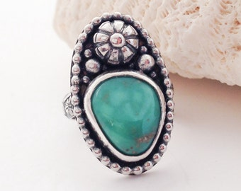 Floral Turquoise Sterling Silver Statement Ring Size 6 1/2 Tunnel Mine Turquoise Ring, Artisan SilverSmith Flower Ring, Unique Bohemian Ring