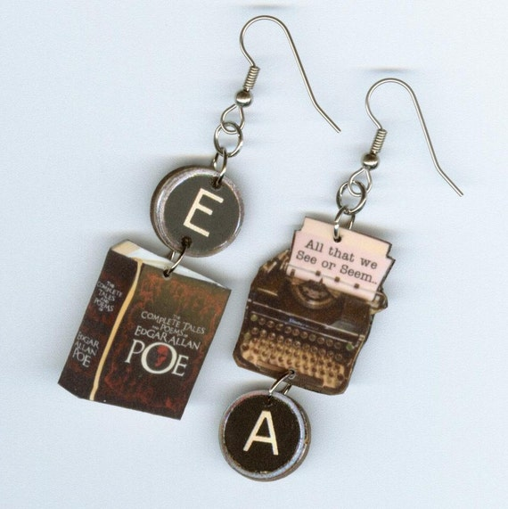 Book Earrings - Edgar Allan Poe POEM quote -  Dream Within a Dream - Typewriter jewelry - readers poet poetry librarian student gift