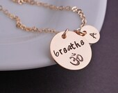 Gold Breathe Necklace, Just Breathe Om Jewelry, Yoga Necklace, Yoga Gift, Inspirational Jewelry