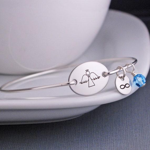 Angel Bracelet, Graduation Gift Angel Bracelet, Guardian Angel Jewelry, Personalized Angel Bangle Bracelet, Graduation Gift