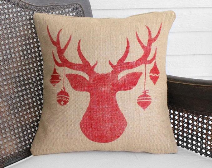 Christmas Deer Pillow - Burlap Pillow Christmas - Christmas Pillow - Reindeer Pillow - Christmas Decor Holiday Decor  Antler with Ornaments