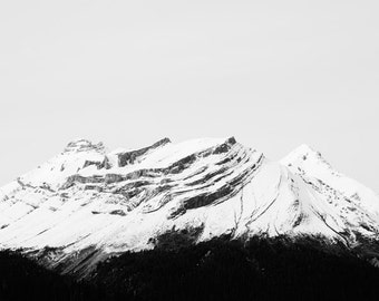 "Winter Landscape Photography, Minimalist Wall Art Print, Mountain Print, Black and White, Abstract Nature, Mountain Photograph ""Ascent"""