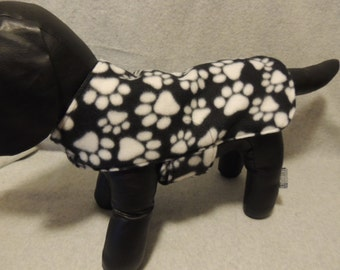 Small Short Dog Coat Black with White Paws