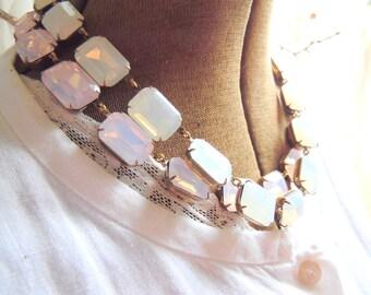 "pink opal necklace, pink statement necklace, georgian collet, Anna Wintour necklaces, georgian jewelry, J. Crew, collet. ""Caroline"""