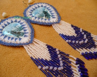 Native American Style Rosette beaded Winter Wolves earrings in Blue and Alabaster White