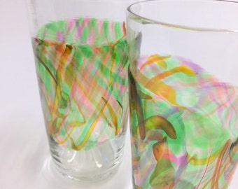 Hand Blown Art Glass Pint Glasses, Rainforest Band Tumblers Barware Wedding Registry Gifts