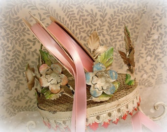 vintage pink satin ribbons . 2 partial rolls